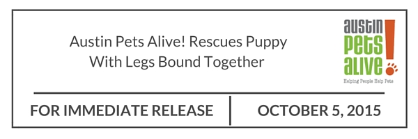 For Immediate Release APA! Rescues Puppy with Legs Bound Together